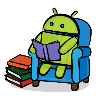 Android robot reading a book