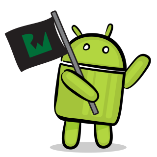 Android robot with Ray Wenderlich flag