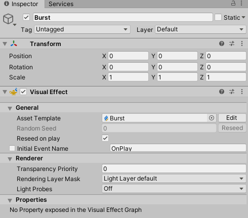 the Burst VFX GameObject inspector properties