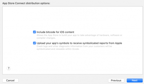 Default distribution options checked in the App Store distribution prompt