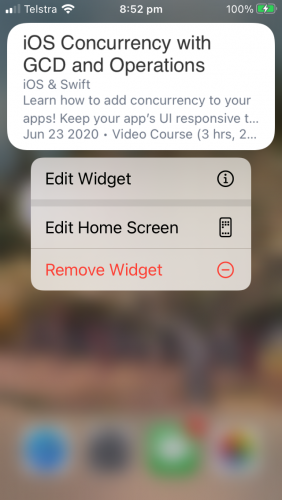 Edit widget button