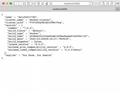 Localhost showing Elasticsearch is running