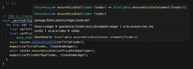 ensureVisible function documentation