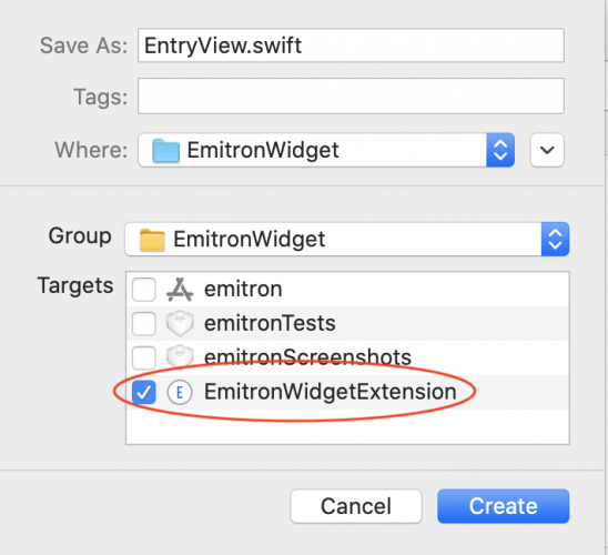 Create EntryView with only the widget as target.