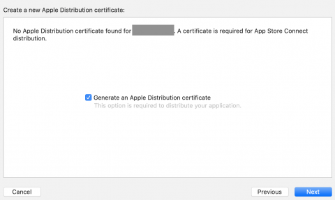 Prompt to generate an App Store certificate, if needed.