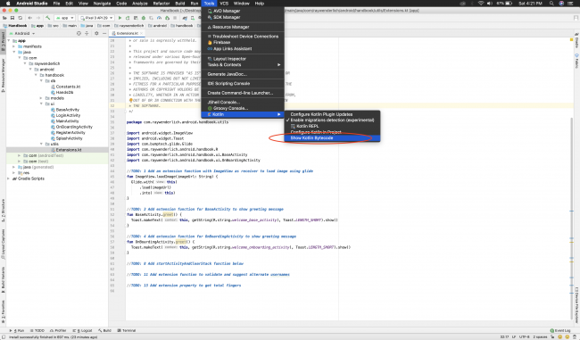 Android Studio with the Kotlin Bytecode tool item selected