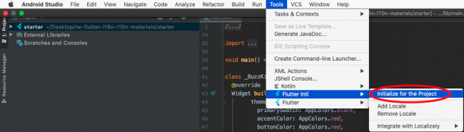 Path to Flutter Intl on Android Studio's menu bar