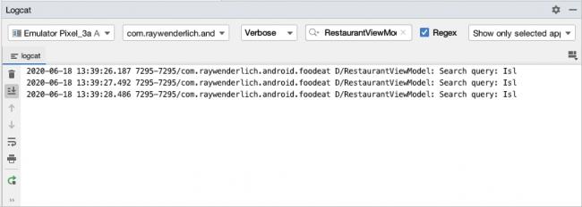Écran montrant Logcat avec les mêmes requêtes de recherche séquentielle