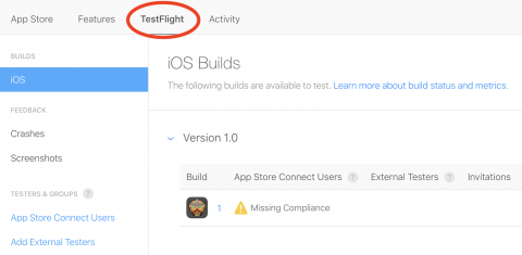 TestFlight tab with warning