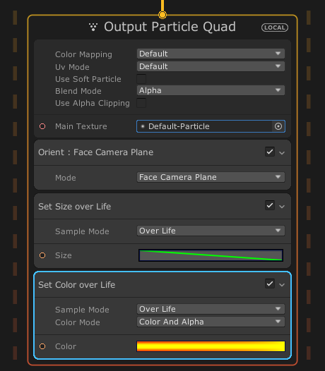 output particle quad settings