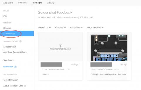 Screenshot feedback screen with the Screenshots tab circled in red