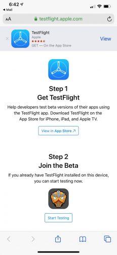 TestFlight link landing page