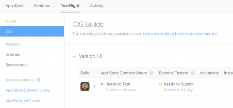 TestFlight tab — ready to test