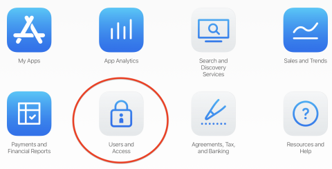 App Store Connect page with the Users & Access option highlighted with a red circle
