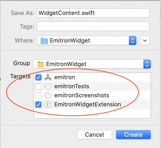 Create WidgetContent with targets emitron and widget.