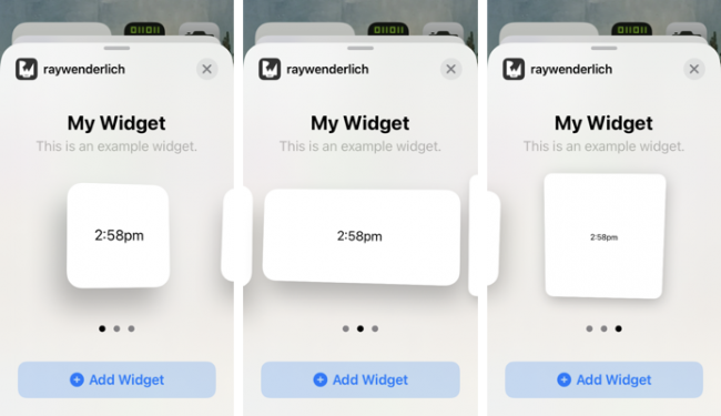 Snapshots of the three widget sizes.