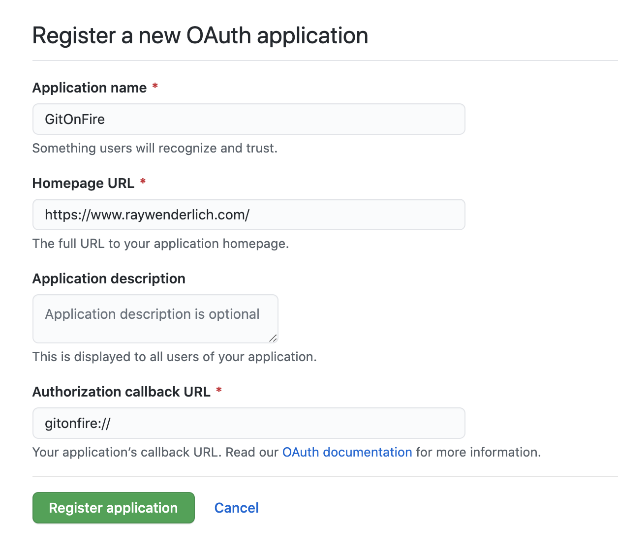 Register GitHub OAuth applicatoin