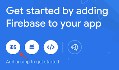 The first-time prompt from Firebase to add an app within your Project