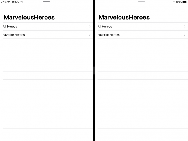 MarvelousHeroes with two instances open in Split View