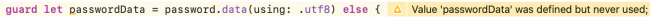Xcode Warning Defined But Never Used