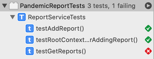 Get Reports test fails