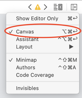 Options to show the Canvas in Xcode