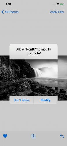 PhotoKit's permission dialog box for modifying an asset.