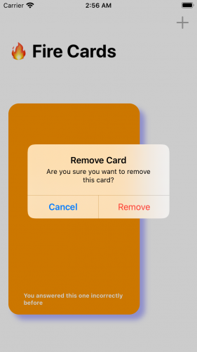 Removing Card Screen