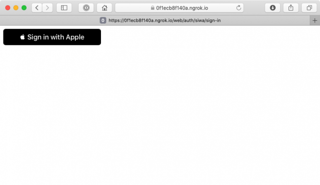 Showing the front end with Apple's Sign in with Apple button.