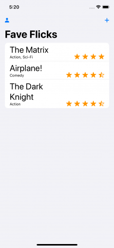 Fave Flicks app listing three movie titles and ratings