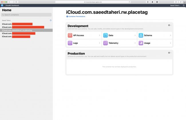 PlaceTag's CloudKit Dashboard homepage