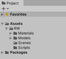 All starter project folders in the Project tab.