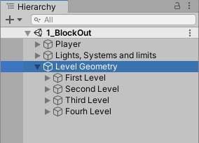 Hierarchy with level geometry selected and expanded