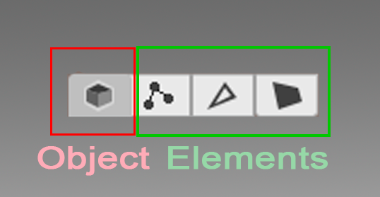 Four icons of the Selection mode Probuilder's GUI, separated in two groups: Object and elements