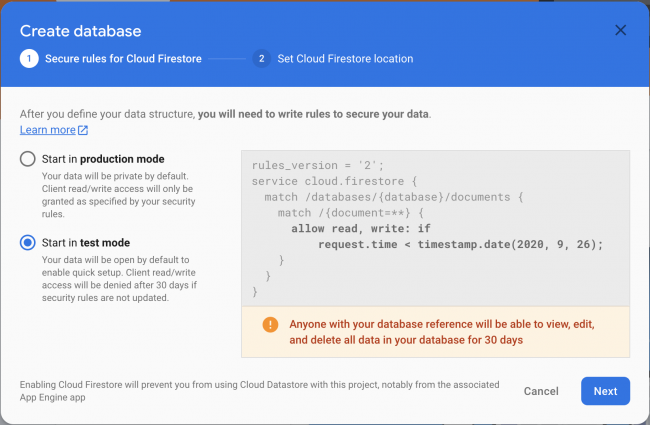 Firebase - Secure Rules in Test Mode