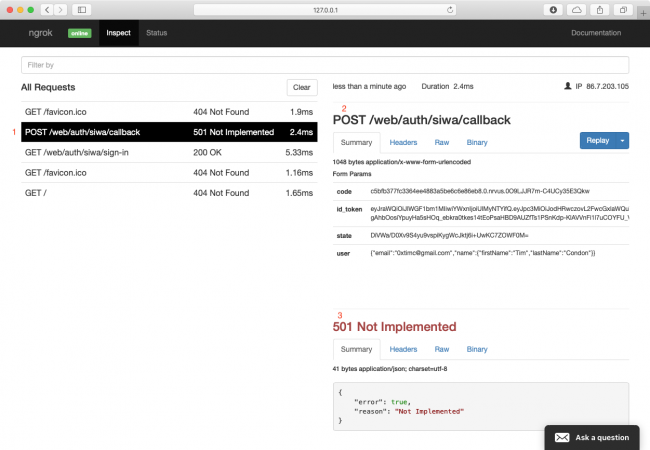 Inspecting the callback request in ngrok's web console.