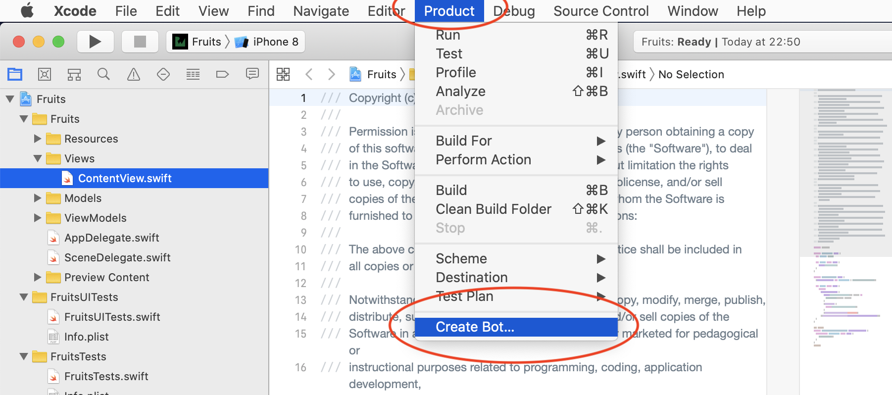 Select create bot