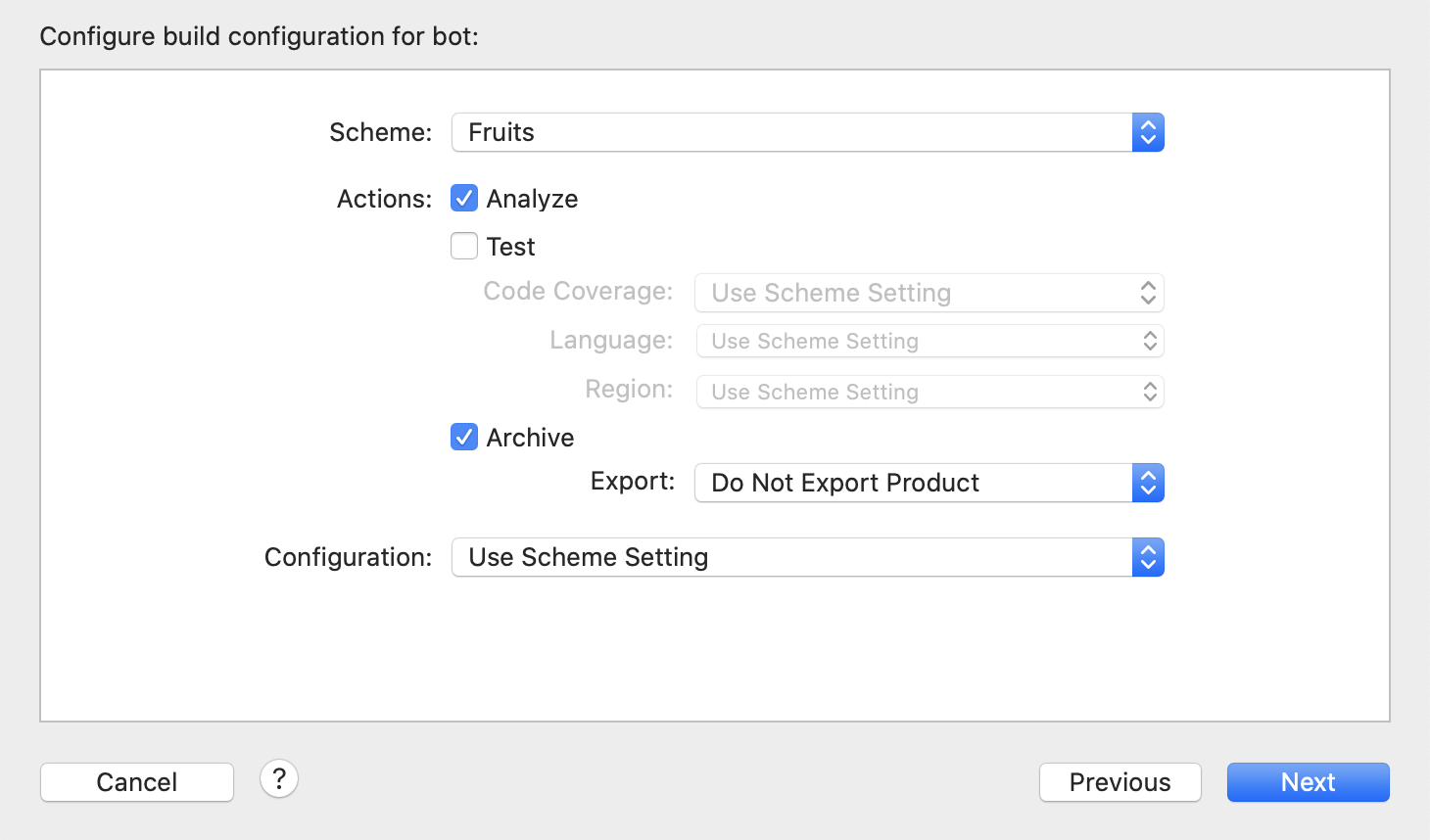 Build configuration for bot
