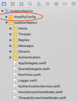 Amplify Config Group in Xcode