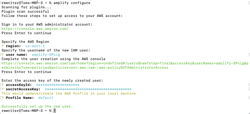 Configuring Amplify using your Terminal