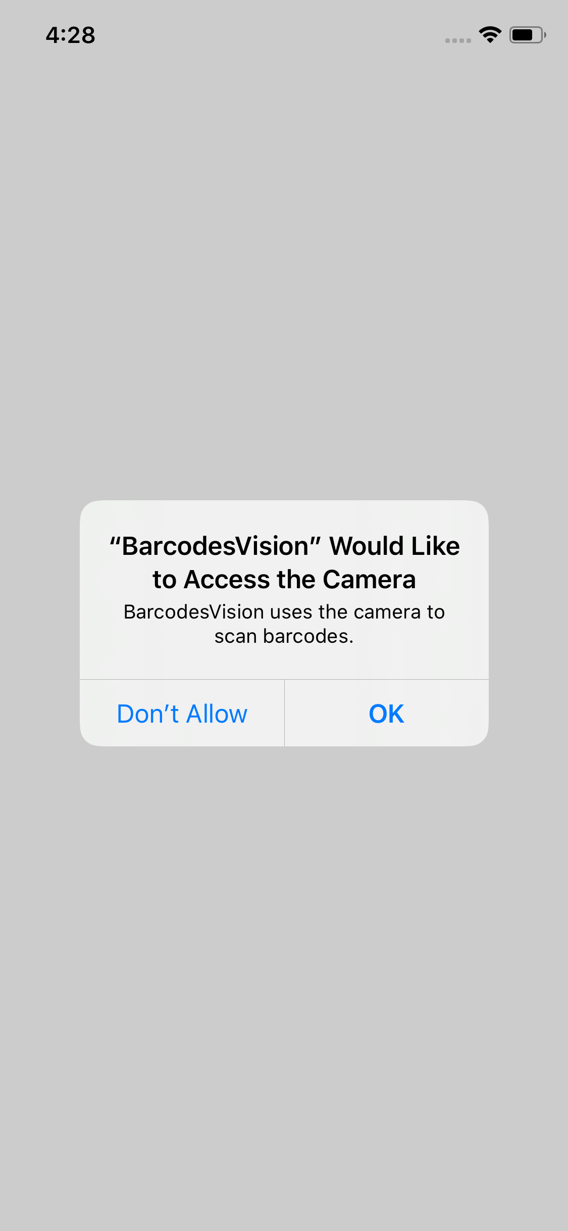 Popup requesting user permissions to access the camera