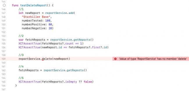 Compilation error - ReportService has no member delete