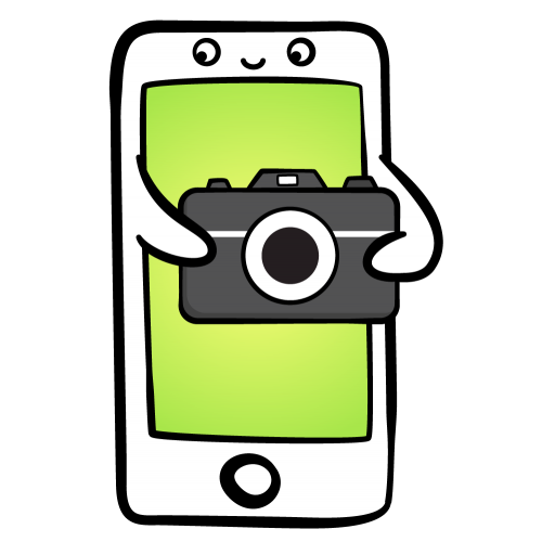 Cartoon iPhone holding a camera