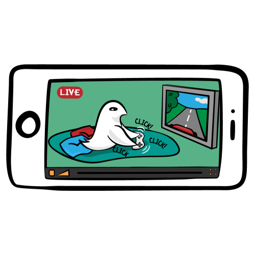 Live streaming with a cartoon iPhone