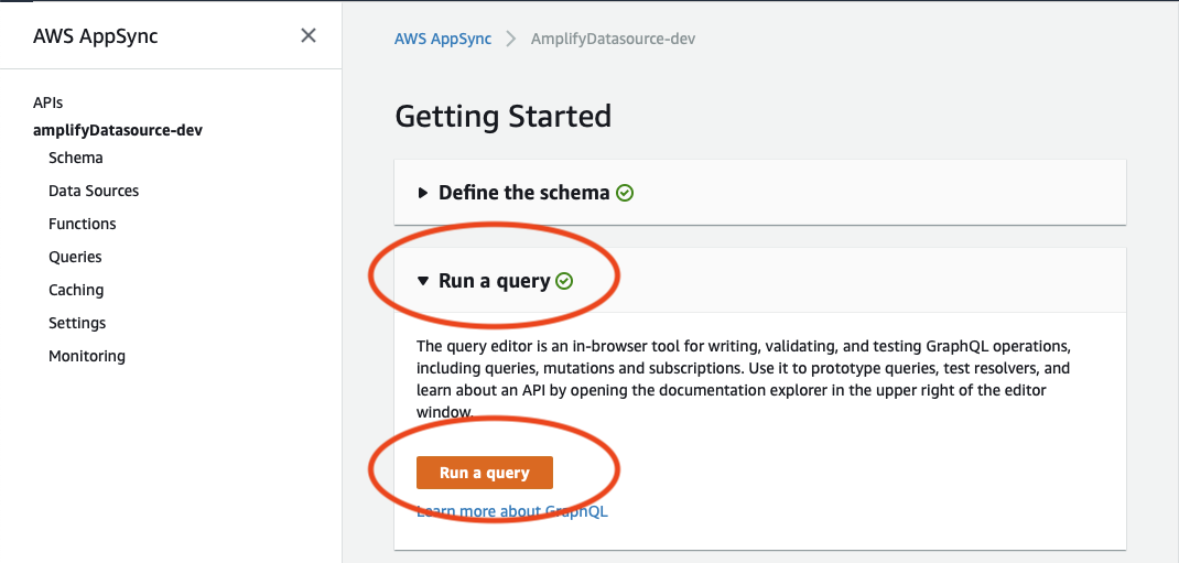 Running a Query from the AWS AppSync Console