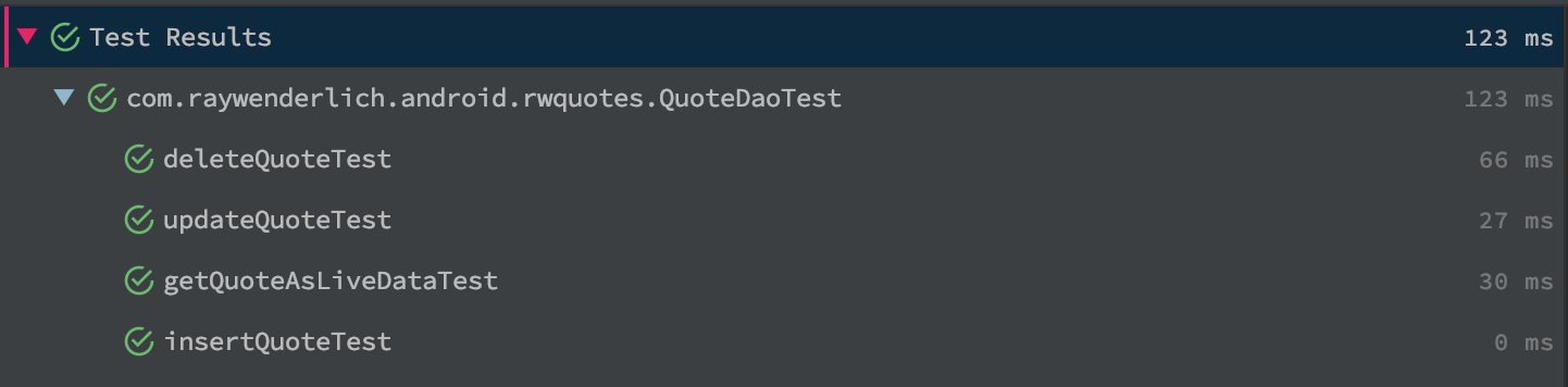 Test results showing positive results for deleteQuoteTest, updateQuoteTest, getQuoteAsLiveDataTest and insertQuoteTest