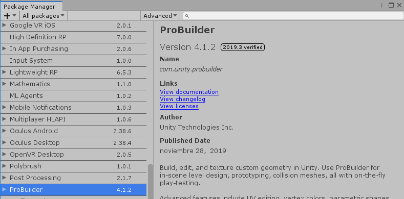 Package Manager with ProBuilder selected