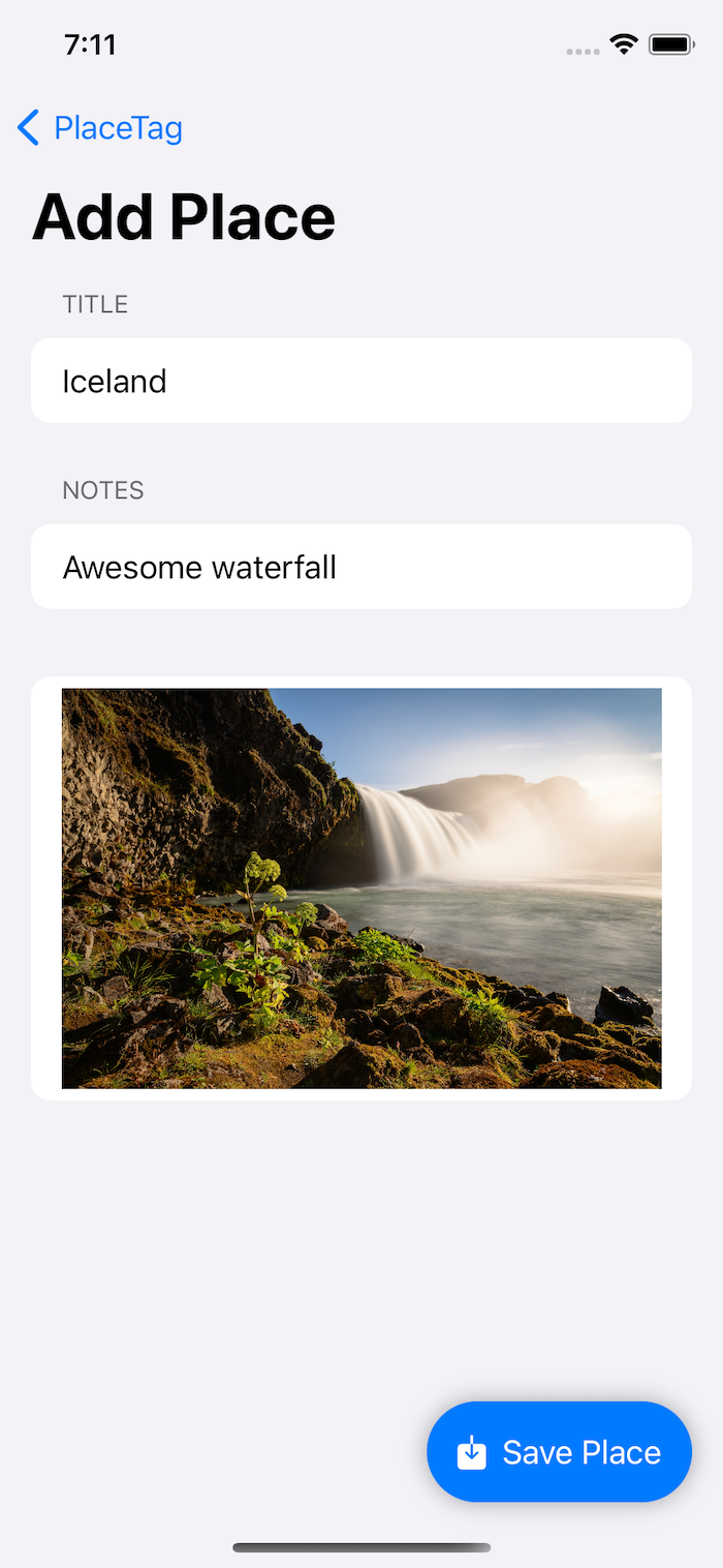 Add Place screen in PlaceTag with a name, notes and an image