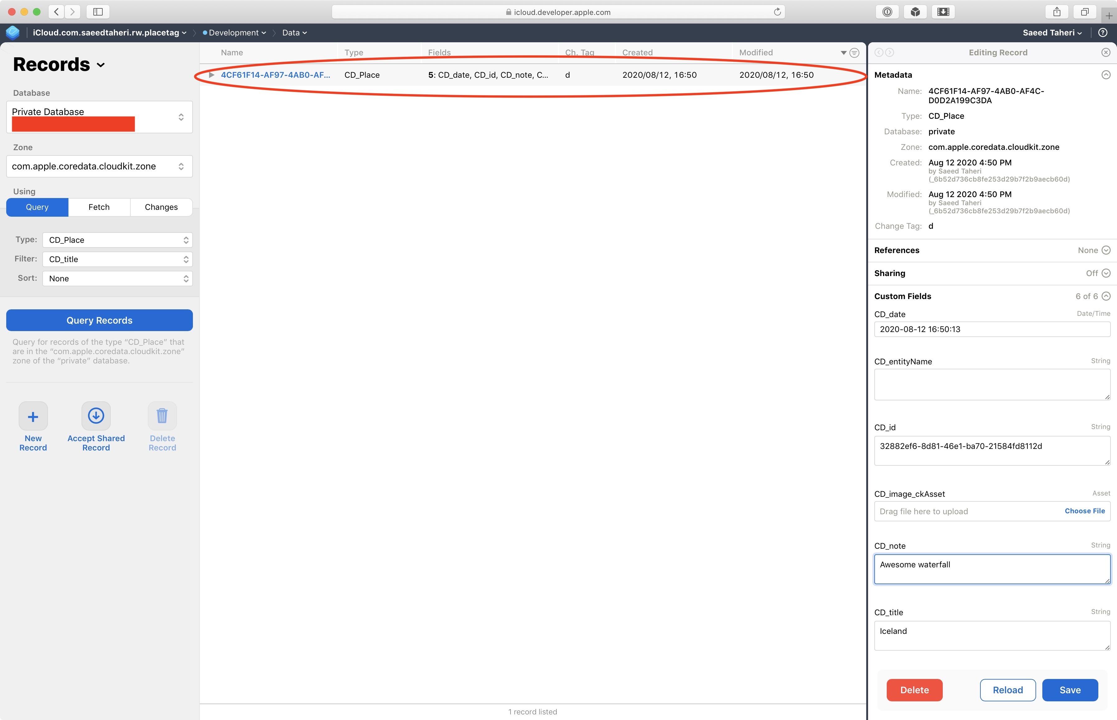 PlaceTag CloudKit Dashboard: Place Detail