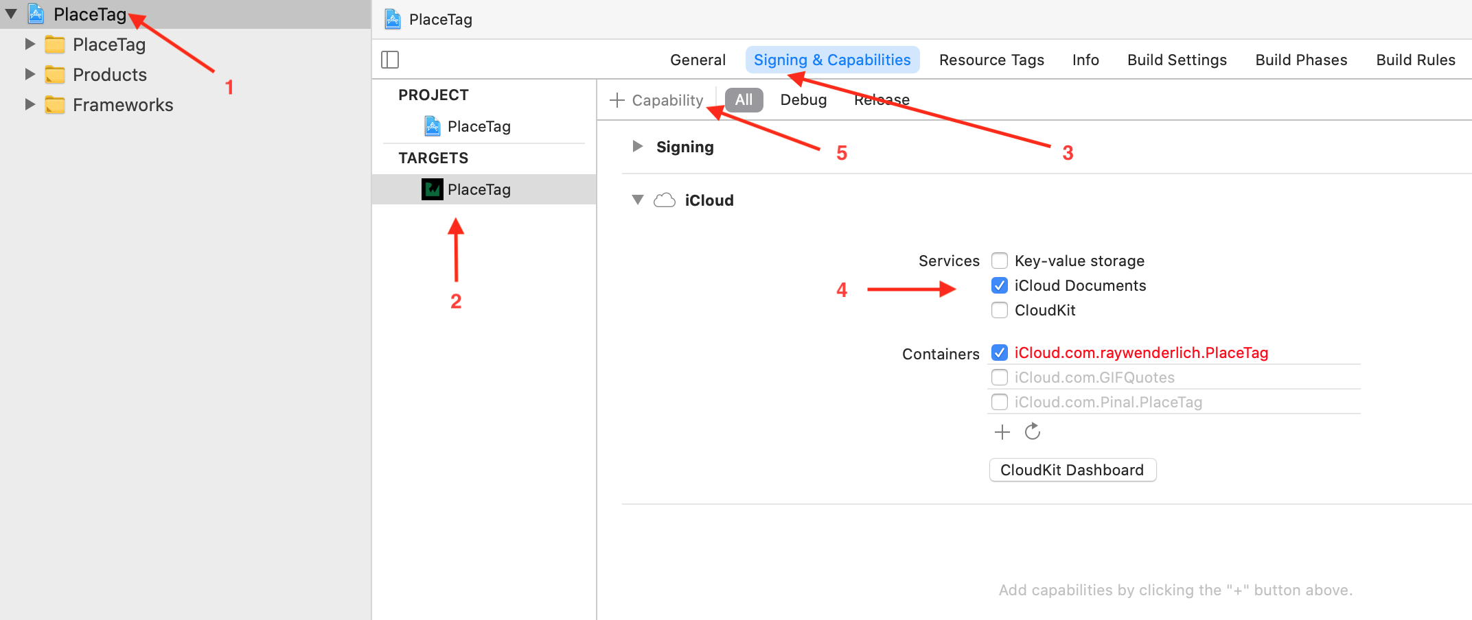 Xcode Project setup screen with annotations for elements you'll use soon. Indexed arrows.